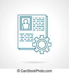 Staff data collection blue line vector icon - Personnel data...