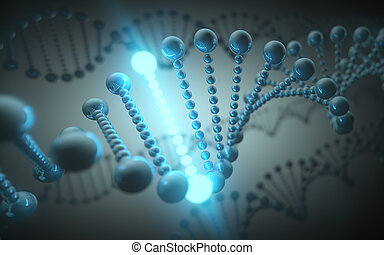 DNA Futuristic Concept - Metallic DNA helix in a futuristic...
