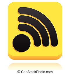 Rounded square icon, button with RSS or generic signal...