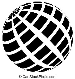 3d checkered sphere on white. Editable vector.