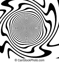 Abstract asymmetric spiral background. Distorted spiral. Vector.