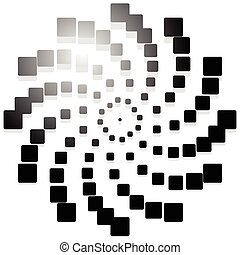 Abstract spiral, twirl graphics with rectangles. Vector.