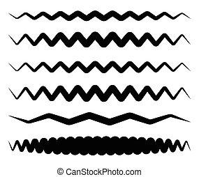 Set of wavy, zigzag horizontal lines, dividers