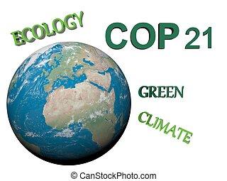 COP21 in Paris - 3d render - COP21 in Paris green - 3d...