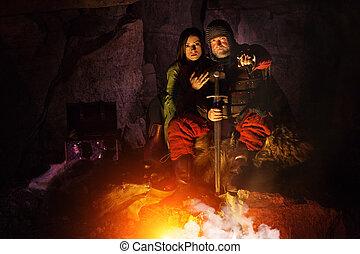 antigas, medieval, rei, em, armadura, com, espada, é,...