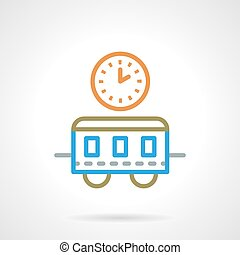 Simple color line train time vector icon - Train station...