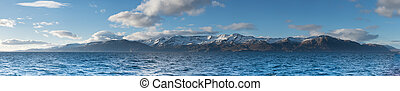 Panorama of Mount in Husavik,taken on the boat