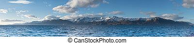 Panorama of Mount in Husavik,taken on the boat