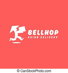 Asian deliveryman runs speed delivery cargo box hat beard...