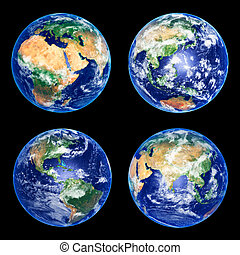 Earth - Four Earth Globes with clouds, high res pictures
