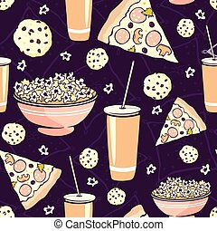 Vector Purple Pink Pajama Party Movie Night  Food Seamless Pattern. Pizza Drink Cookie Popcorn Snack.