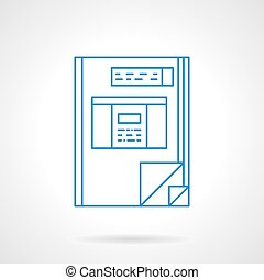 Book accounting blue flat line vector icon - Financial...