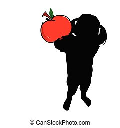 girl with apple in hand vector silhouette - girl with apple...