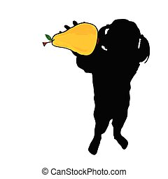 girl with pear in hand vector silhouette - girl with pear...