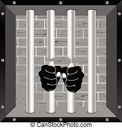 prison bars freedom with hand vector illustration - prison...