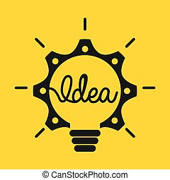 Idea icon design over yellow background, vector illustration...