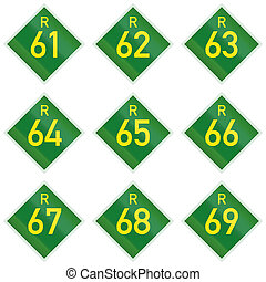 Collection of South African Provincial route signs