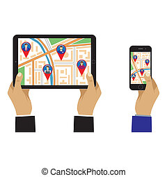 Map of the city on the screen with GPS signs. - City map on...
