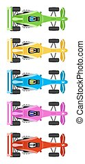 race cars - Five Race Cars with cool colors