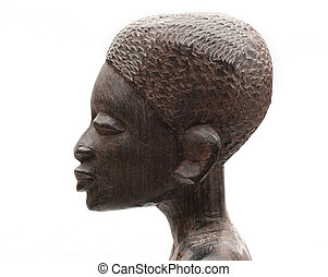 African souvenir. Woman head. Wood.