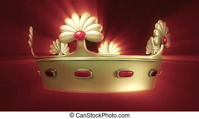 Golden crown 3D animation transition with floral ornament...