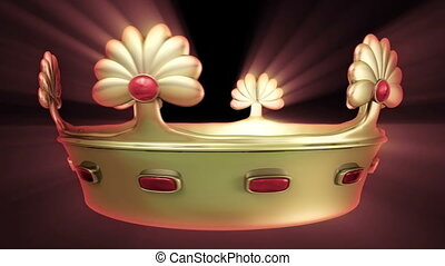 Golden crown 3D animation with floral ornament and Red Ruby...