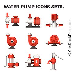 Water pump sets isolated on white background