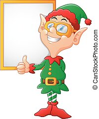 cartoon elf giving a thumbs up - vector illustration of...