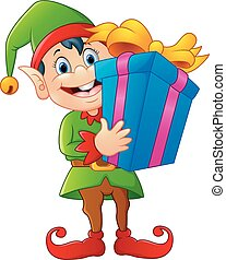 cartoon elf holding gift box - vector illustration of...