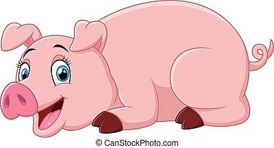 cartoon pig lay down - vector illustration of cartoon pig...