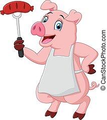 cartoon chef pig