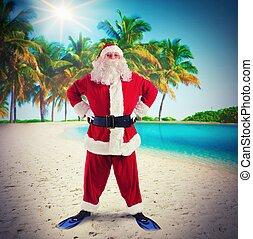Santa Claus on tropical vacation - Man dressed as Santa...