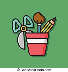 stationery vector pencil case icon