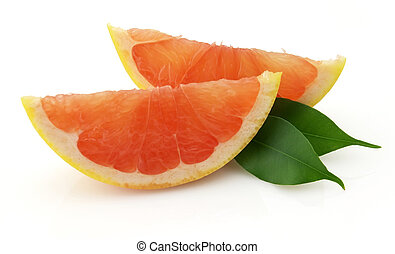 Cut grapefruit with leaves