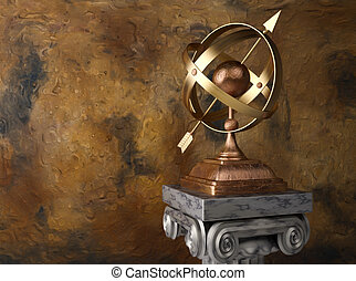 Armillary sphere - 3d render illustration of conceptual...