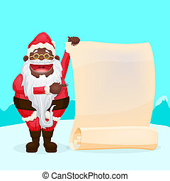 Funny Santa Holding Blank Scroll - Cool character for your...