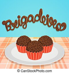 Brigadeiro - Brazilian Candy - Chocolate lettering and kind...