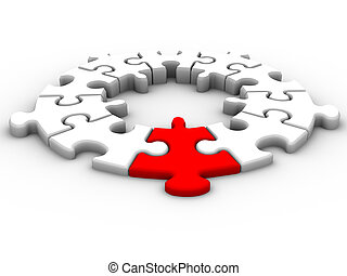 Leadership connection - Jigsaw puzzle pieces over white - 3d...