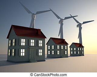 Alternative energy - 3d render illustration of three houses...