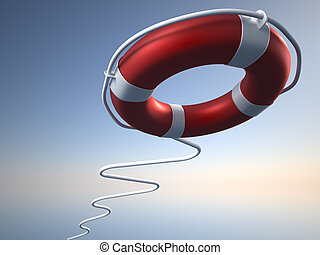 Life buoy flying over blue sky - 3d render illustration