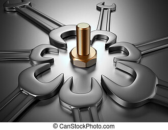 Wrenches and screw - 3d render illustration of a screw...