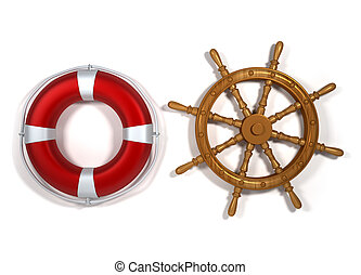 Nautical equipment - Life buoy and ship navigation wheel -...