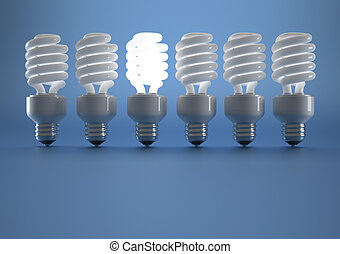 Lit bulb - Lit fluorescent bulb in a string of lights off -...