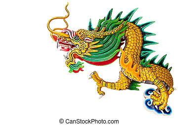 Dragon statue. - Dragon statue chinese style on white, work...