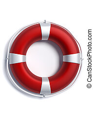 Lifebuoy - Life buoy over white background - 3d render...