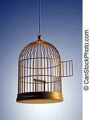 Bird cage - 3d render illustration of golden bird cage
