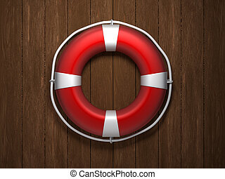 Life buoy - 3d illustration of life buoy on wooden...