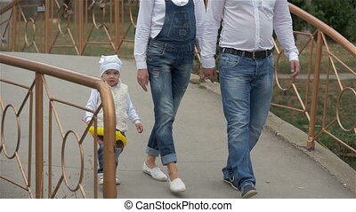 family walking in the Park. mom and dad daughter