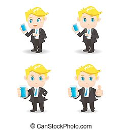 businessman use smartphone - cartoon businessman show...