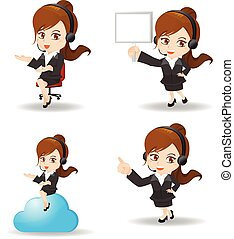 cartoon Business woman customer service - cartoon set of...